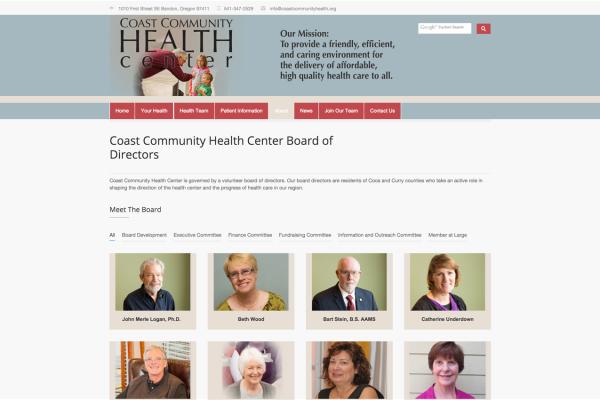 oregon coast health center website designer