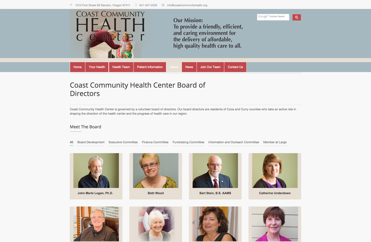 oregon coast health center website designer